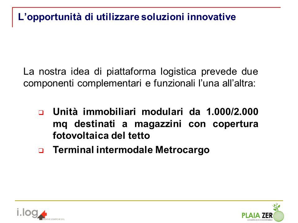 Lopportunità di utilizzare soluzioni innovative La nostra idea di piattaforma logistica prevede due componenti complementari e funzionali luna allaltr
