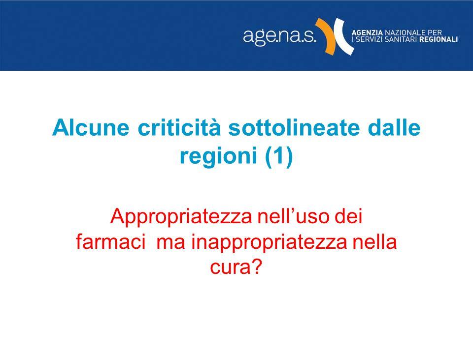 Alcune criticità sottolineate dalle regioni (1) Appropriatezza nelluso dei farmaci ma inappropriatezza nella cura?