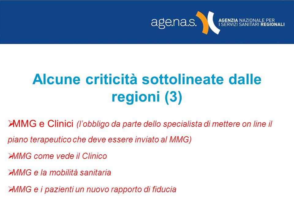 Alcune criticità sottolineate dalle regioni (3) MMG e Clinici (lobbligo da parte dello specialista di mettere on line il piano terapeutico che deve es