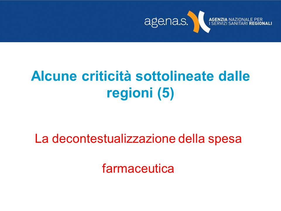Alcune criticità sottolineate dalle regioni (5) La decontestualizzazione della spesa farmaceutica