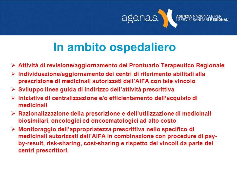 In ambito ospedaliero Attività di revisione/aggiornamento del Prontuario Terapeutico Regionale Individuazione/aggiornamento dei centri di riferimento
