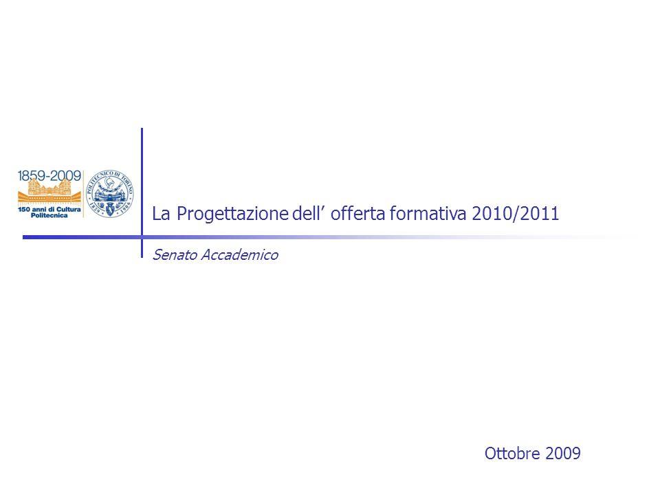 Ottobre 2009 La Progettazione dell offerta formativa 2010/2011 Senato Accademico