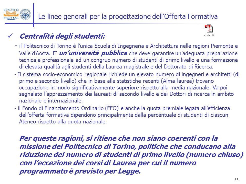 11 Le linee generali per la progettazione dellOfferta Formativa Centralità degli studenti: - il Politecnico di Torino è lunica Scuola di Ingegneria e