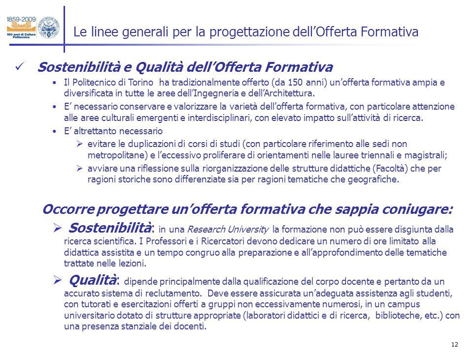 12 Le linee generali per la progettazione dellOfferta Formativa Sostenibilità e Qualità dellOfferta Formativa Il Politecnico di Torino ha tradizionalmente offerto (da 150 anni) unofferta formativa ampia e diversificata in tutte le aree dellIngegneria e dellArchitettura.