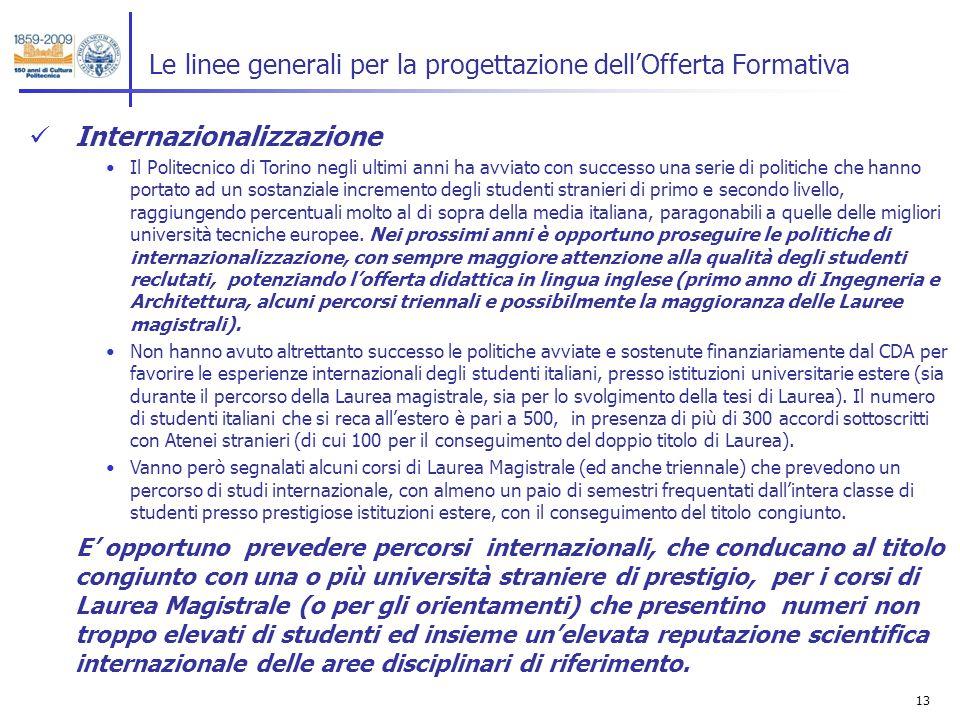 13 Le linee generali per la progettazione dellOfferta Formativa Internazionalizzazione Il Politecnico di Torino negli ultimi anni ha avviato con succe