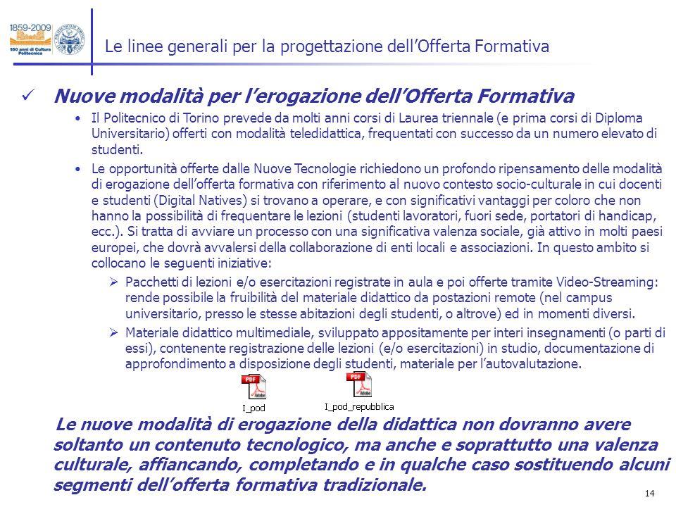 14 Le linee generali per la progettazione dellOfferta Formativa Nuove modalità per lerogazione dellOfferta Formativa Il Politecnico di Torino prevede