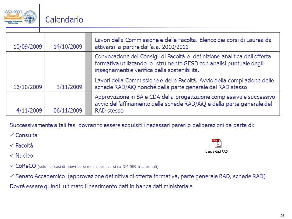 26 Calendario 10/09/200914/10/2009 Lavori della Commissione e delle Facoltà. Elenco dei corsi di Laurea da attivarsi a partire dalla.a. 2010/2011 16/1