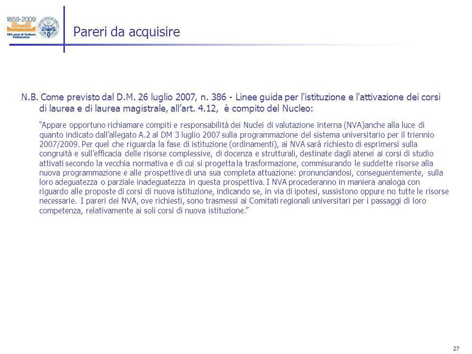 27 Pareri da acquisire N.B. Come previsto dal D.M. 26 luglio 2007, n. 386 - Linee guida per l'istituzione e l'attivazione dei corsi di laurea e di lau