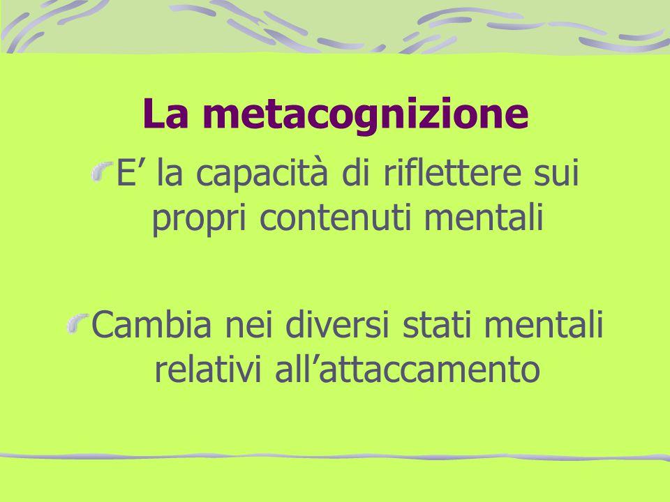 La metacognizione E la capacità di riflettere sui propri contenuti mentali Cambia nei diversi stati mentali relativi allattaccamento