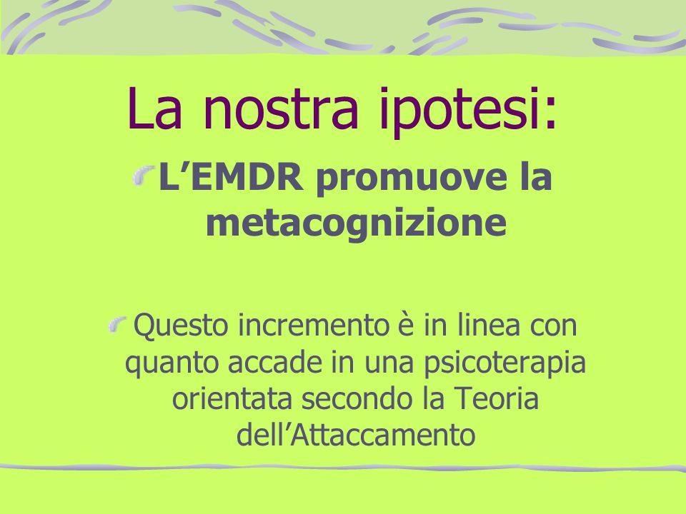 La nostra ipotesi: LEMDR promuove la metacognizione Questo incremento è in linea con quanto accade in una psicoterapia orientata secondo la Teoria del