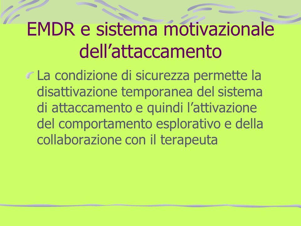 EMDR e sistema motivazionale dellattaccamento La condizione di sicurezza permette la disattivazione temporanea del sistema di attaccamento e quindi la