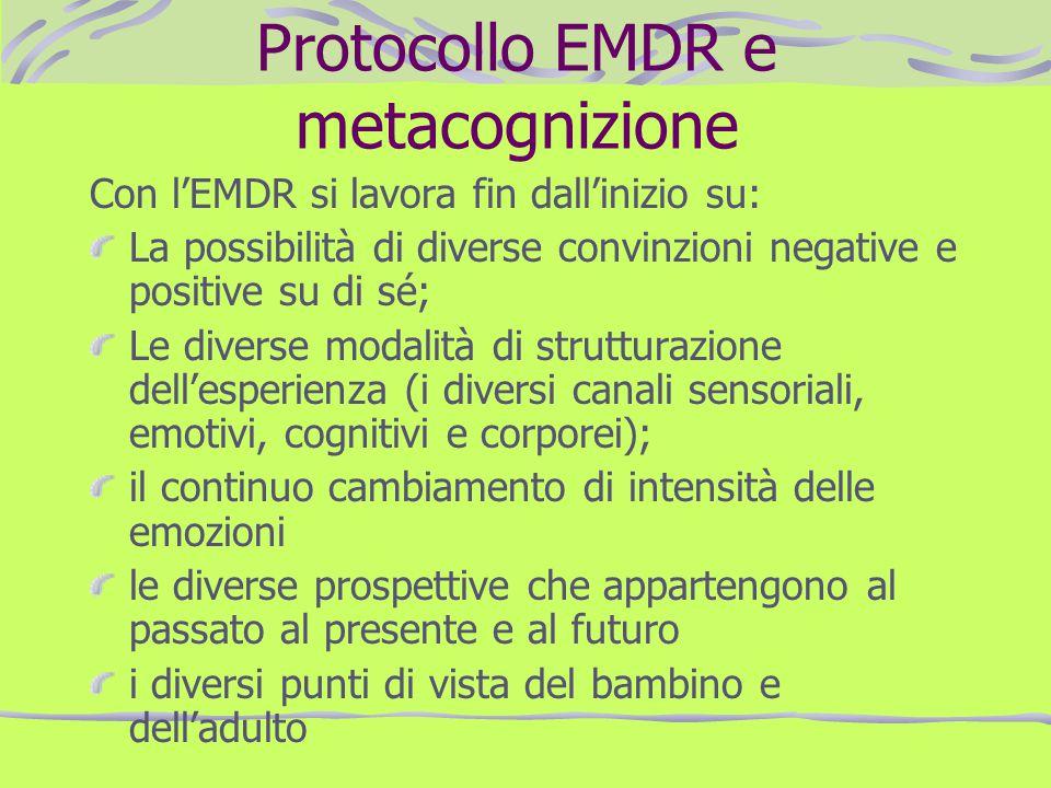 Protocollo EMDR e metacognizione Con lEMDR si lavora fin dallinizio su: La possibilità di diverse convinzioni negative e positive su di sé; Le diverse