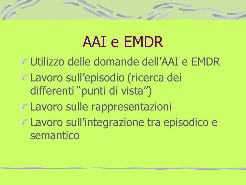 AAI e EMDR Utilizzo delle domande dellAAI e EMDR Lavoro sullepisodio (ricerca dei differenti punti di vista) Lavoro sulle rappresentazioni Lavoro sull