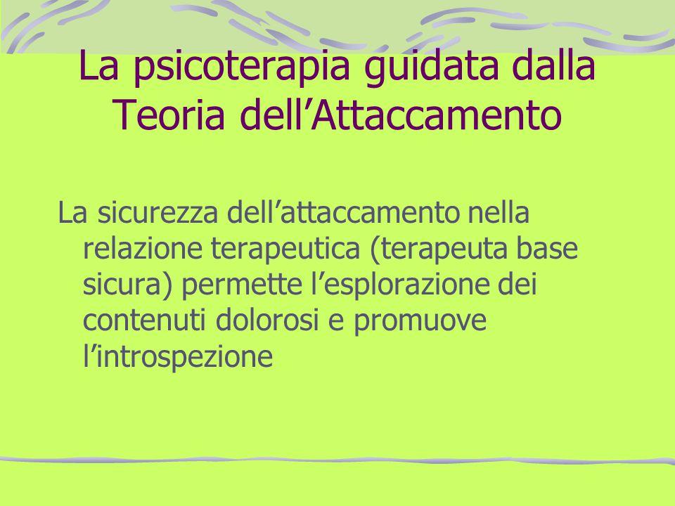 La psicoterapia guidata dalla Teoria dellAttaccamento La sicurezza dellattaccamento nella relazione terapeutica (terapeuta base sicura) permette lespl