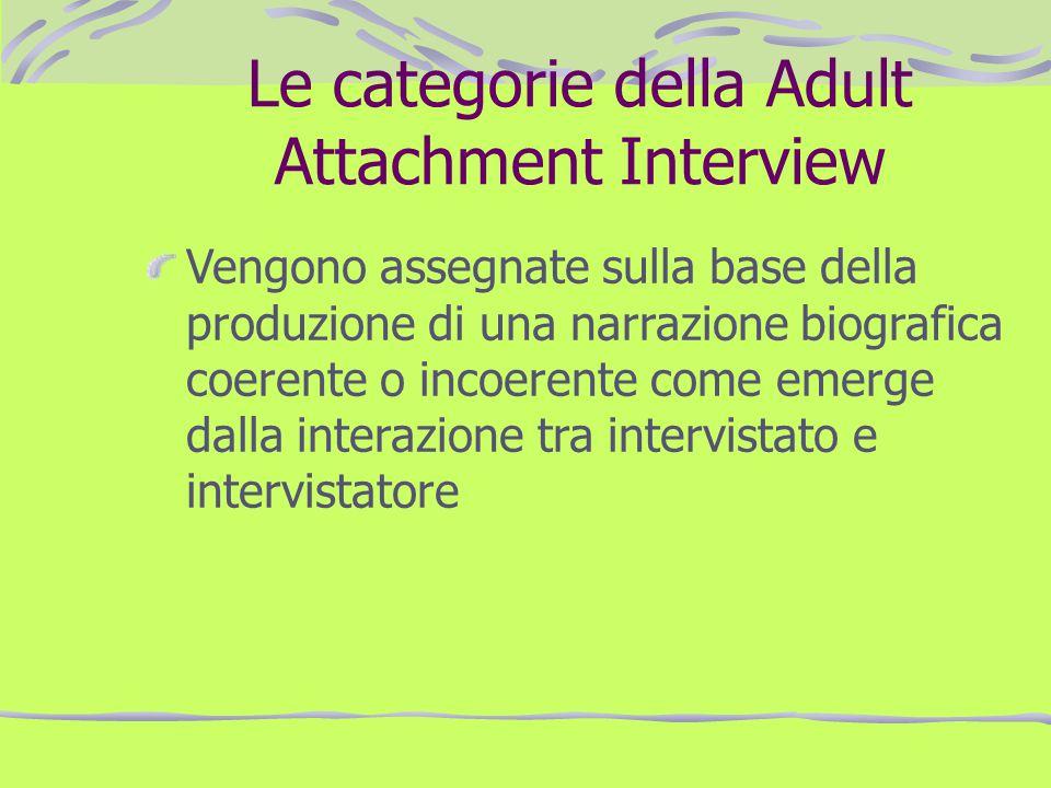 Le categorie della Adult Attachment Interview Vengono assegnate sulla base della produzione di una narrazione biografica coerente o incoerente come em