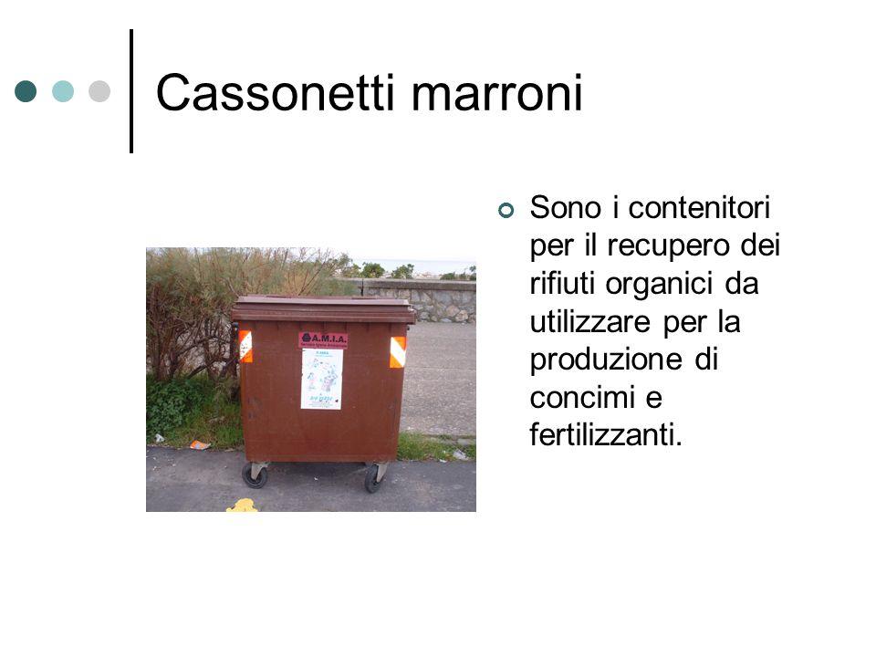 Cassonetti marroni Sono i contenitori per il recupero dei rifiuti organici da utilizzare per la produzione di concimi e fertilizzanti.