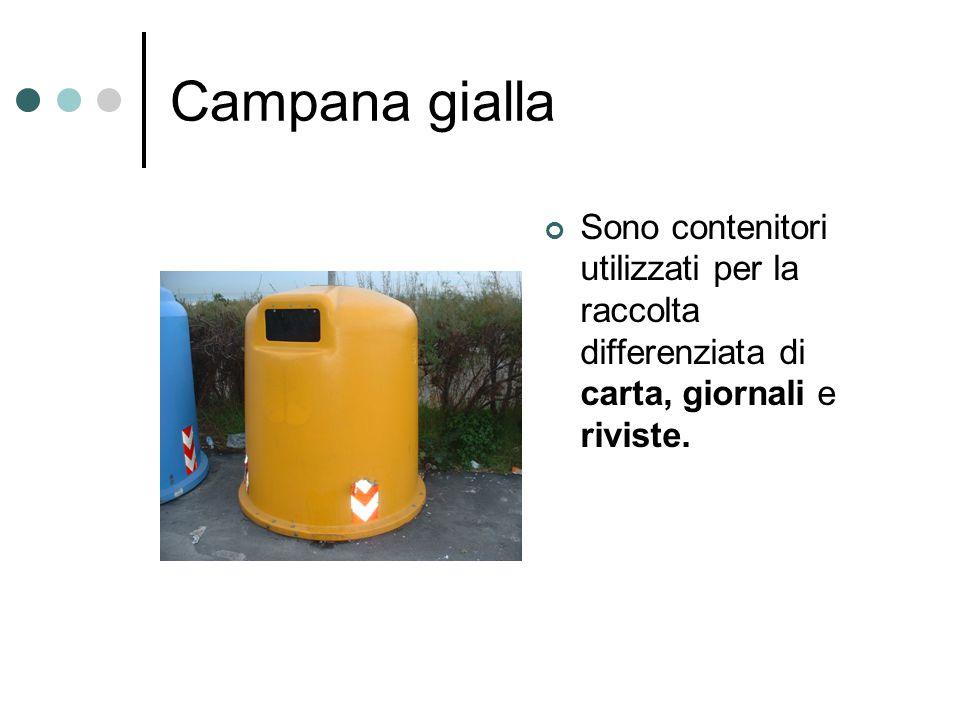 Campana gialla Sono contenitori utilizzati per la raccolta differenziata di carta, giornali e riviste.