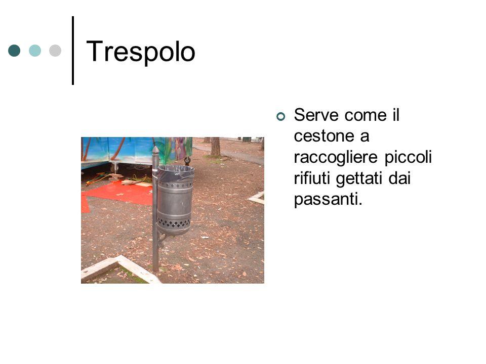 Trespolo Serve come il cestone a raccogliere piccoli rifiuti gettati dai passanti.