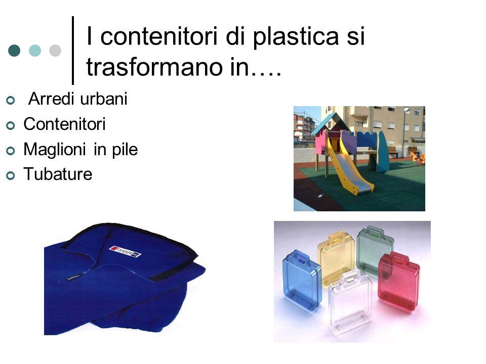 I contenitori di plastica si trasformano in…. Arredi urbani Contenitori Maglioni in pile Tubature