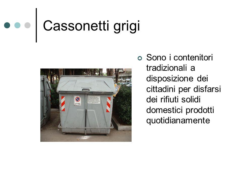 Cassonetti grigi Sono i contenitori tradizionali a disposizione dei cittadini per disfarsi dei rifiuti solidi domestici prodotti quotidianamente