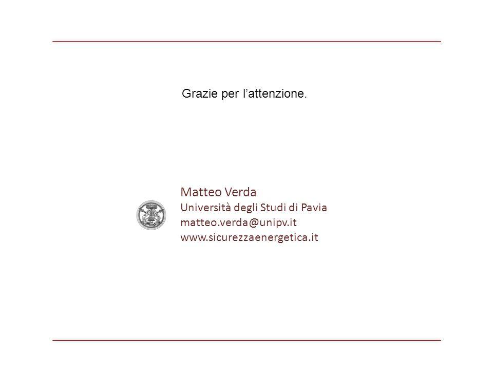 Matteo Verda Università degli Studi di Pavia matteo.verda@unipv.it www.sicurezzaenergetica.it Grazie per lattenzione.
