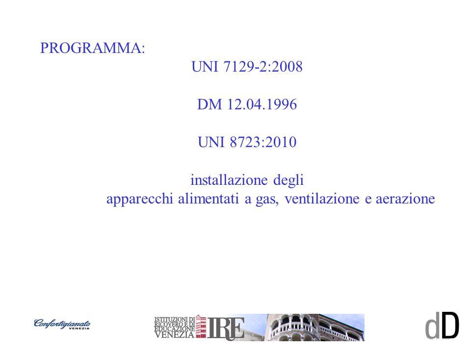 PROGRAMMA: UNI 7129-2:2008 DM 12.04.1996 UNI 8723:2010 installazione degli apparecchi alimentati a gas, ventilazione e aerazione