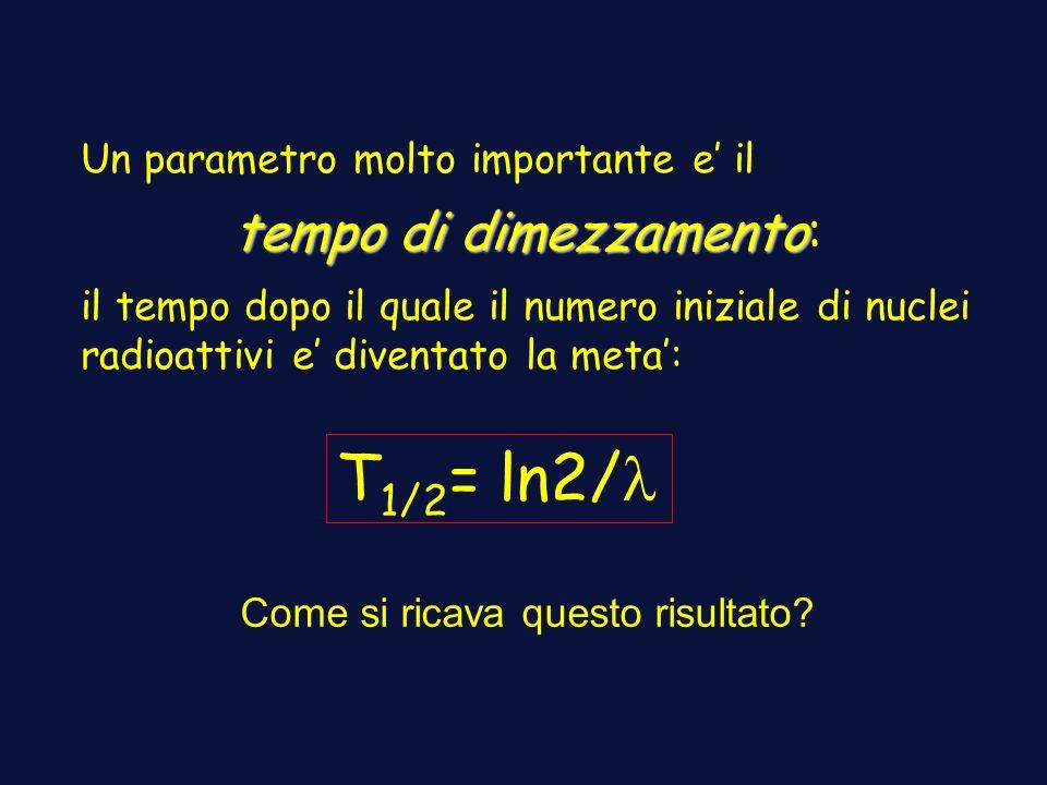 Un parametro molto importante e il tempo di dimezzamento tempo di dimezzamento: il tempo dopo il quale il numero iniziale di nuclei radioattivi e diventato la meta: T 1/2 = ln2/ Come si ricava questo risultato?
