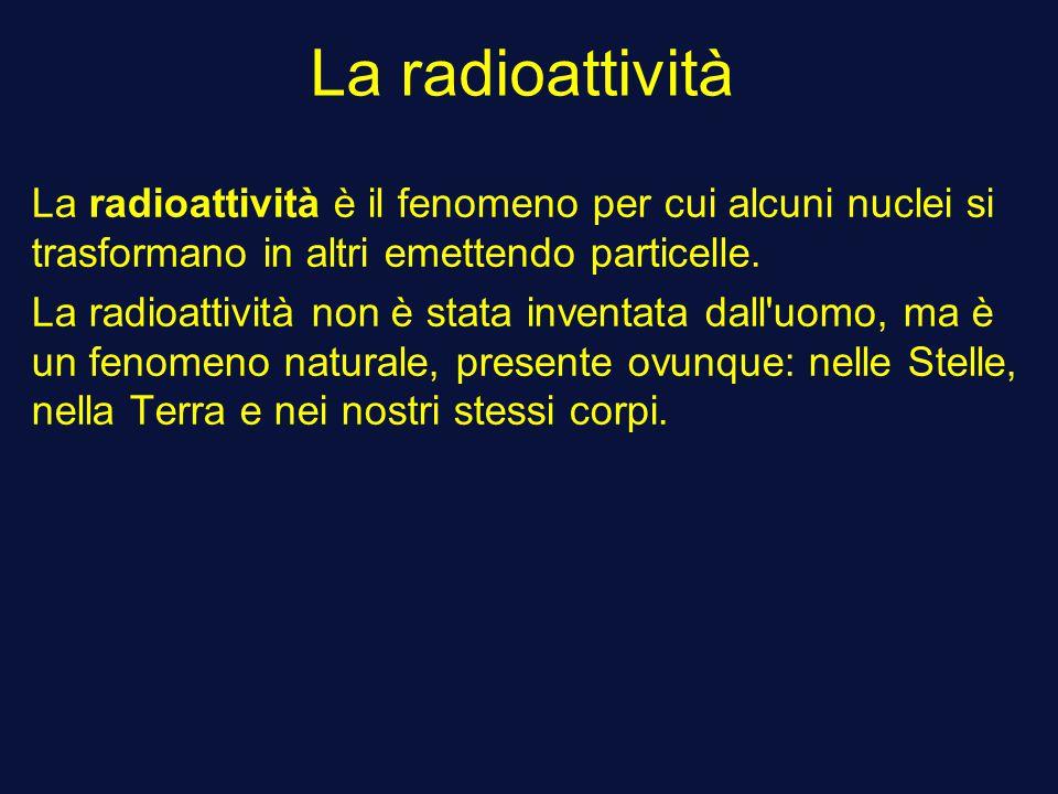 La radioattività La radioattività è il fenomeno per cui alcuni nuclei si trasformano in altri emettendo particelle. La radioattività non è stata inven