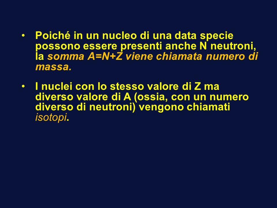 Poiché in un nucleo di una data specie possono essere presenti anche N neutroni, la somma A=N+Z viene chiamata numero di massa. I nuclei con lo stesso