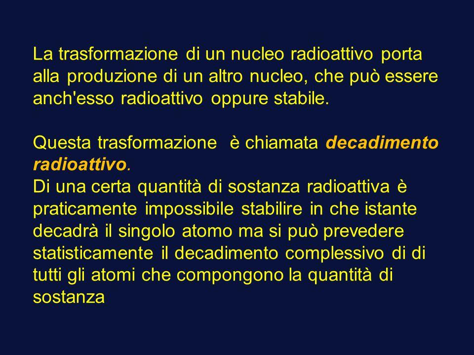 La trasformazione di un nucleo radioattivo porta alla produzione di un altro nucleo, che può essere anch'esso radioattivo oppure stabile. Questa trasf