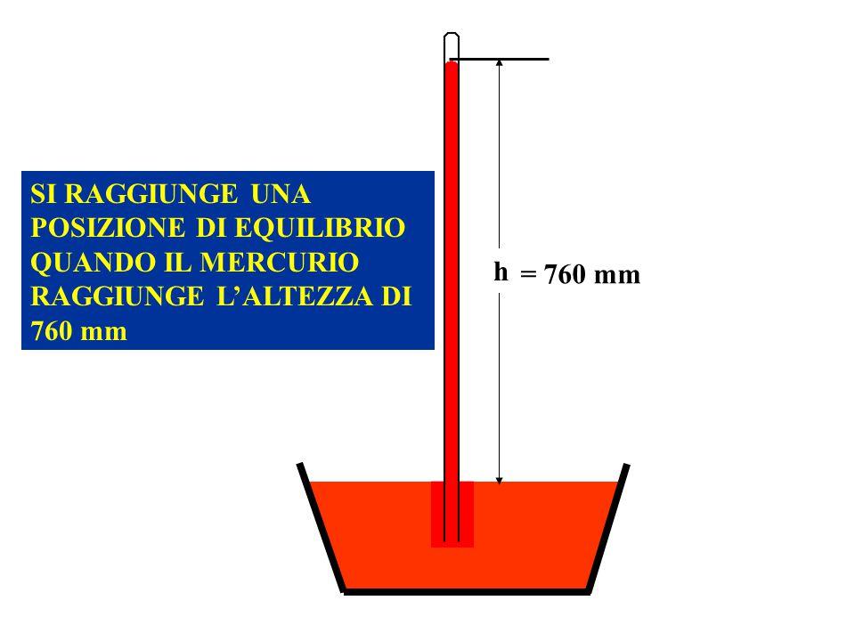 = 760 mm h SI RAGGIUNGE UNA POSIZIONE DI EQUILIBRIO QUANDO IL MERCURIO RAGGIUNGE LALTEZZA DI 760 mm