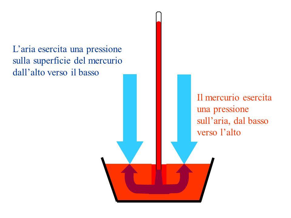 Laria esercita una pressione sulla superficie del mercurio dallalto verso il basso Il mercurio esercita una pressione sullaria, dal basso verso lalto
