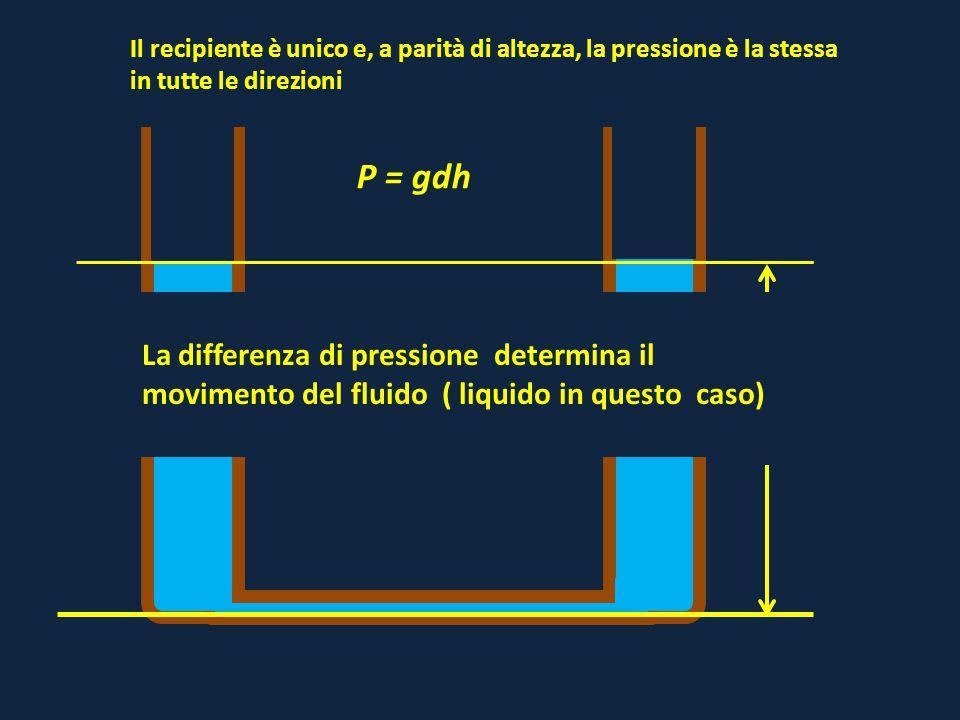 Il recipiente è unico e, a parità di altezza, la pressione è la stessa in tutte le direzioni h P = gdh La differenza di pressione determina il movimen