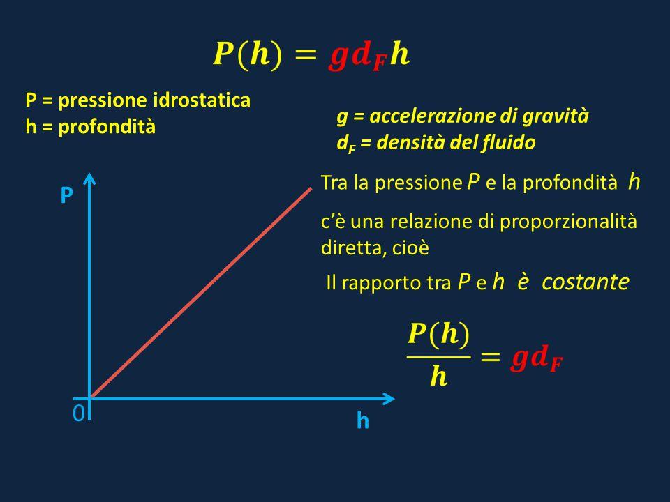 g = accelerazione di gravità d F = densità del fluido P = pressione idrostatica h = profondità h P 0 Tra la pressione P e la profondità h cè una relaz
