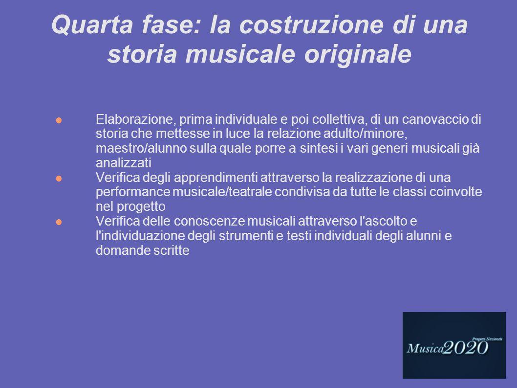 Quarta fase: la costruzione di una storia musicale originale Elaborazione, prima individuale e poi collettiva, di un canovaccio di storia che mettesse