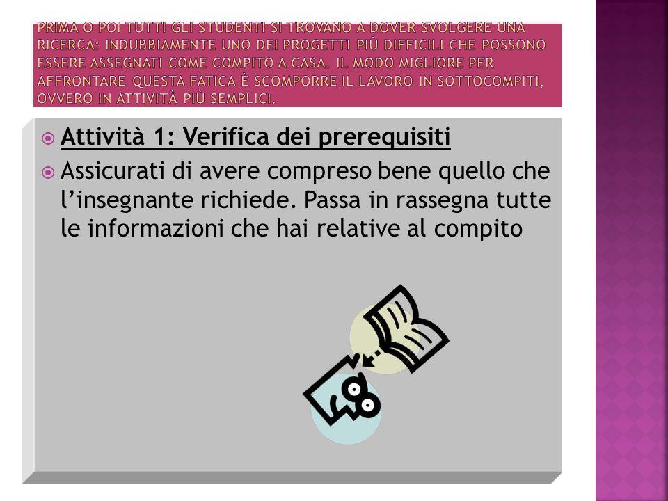 Attività 1: Verifica dei prerequisiti Assicurati di avere compreso bene quello che linsegnante richiede.