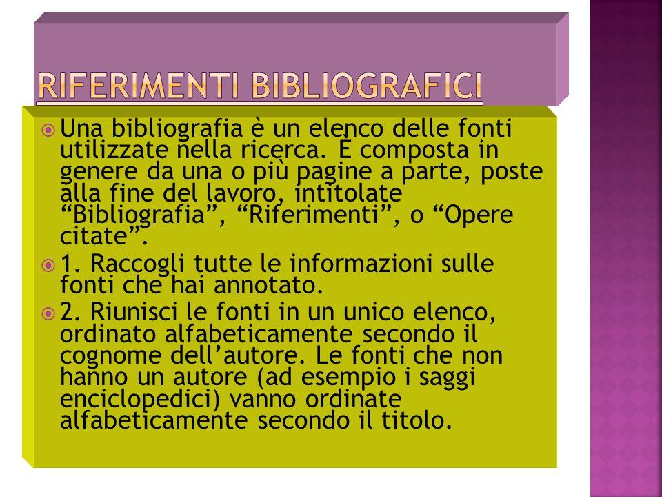Una bibliografia è un elenco delle fonti utilizzate nella ricerca.