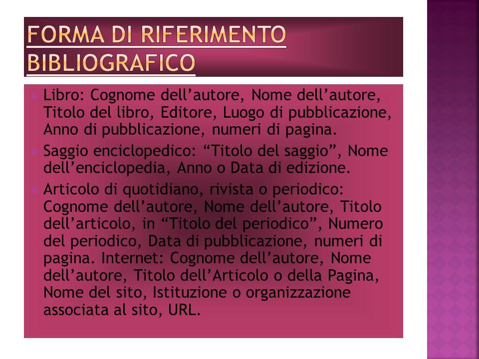 Una bibliografia è un elenco delle fonti utilizzate nella ricerca. È composta in genere da una o più pagine a parte, poste alla fine del lavoro, intit