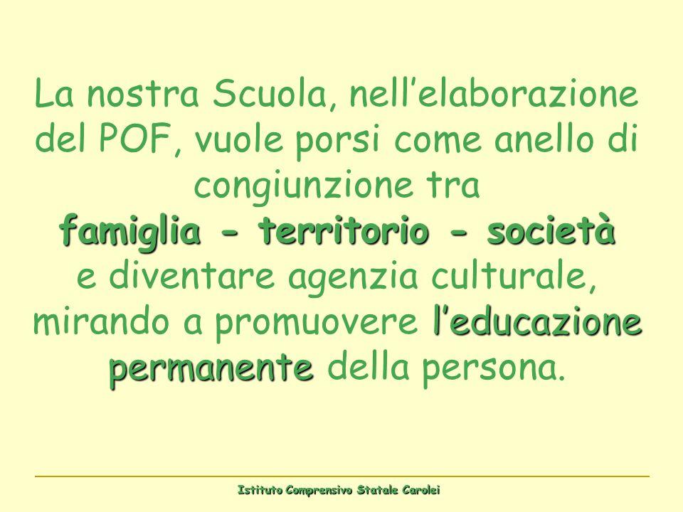 Istituto Comprensivo Statale Carolei famiglia - territorio - società leducazione permanente La nostra Scuola, nellelaborazione del POF, vuole porsi co