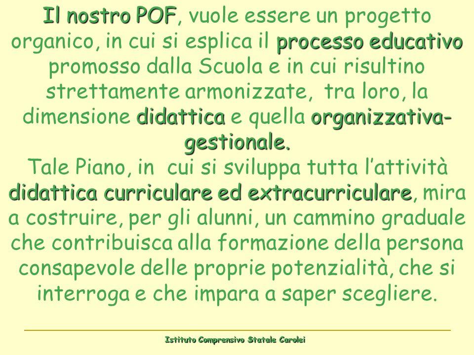 Istituto Comprensivo Statale Carolei Il nostro POF processo educativo didattica organizzativa- gestionale. didattica curriculare ed extracurriculare I