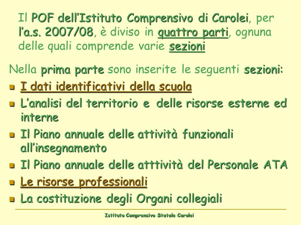 Istituto Comprensivo Statale Carolei POF dellIstituto Comprensivo di Carolei la.s. 2007/08quattro parti sezioni Il POF dellIstituto Comprensivo di Car