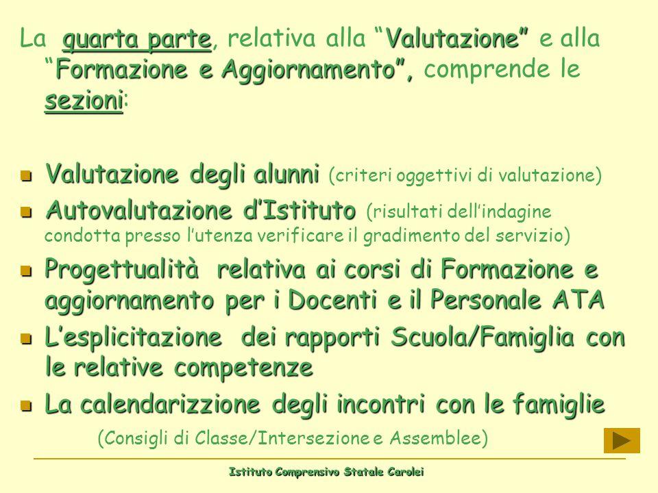 Istituto Comprensivo Statale Carolei quarta parteValutazione Formazione e Aggiornamento, sezioni La quarta parte, relativa alla Valutazione e allaForm