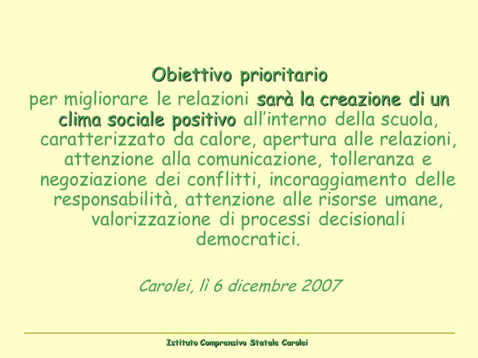 Istituto Comprensivo Statale Carolei Obiettivo prioritario sarà la creazione di un clima sociale positivo per migliorare le relazioni sarà la creazion