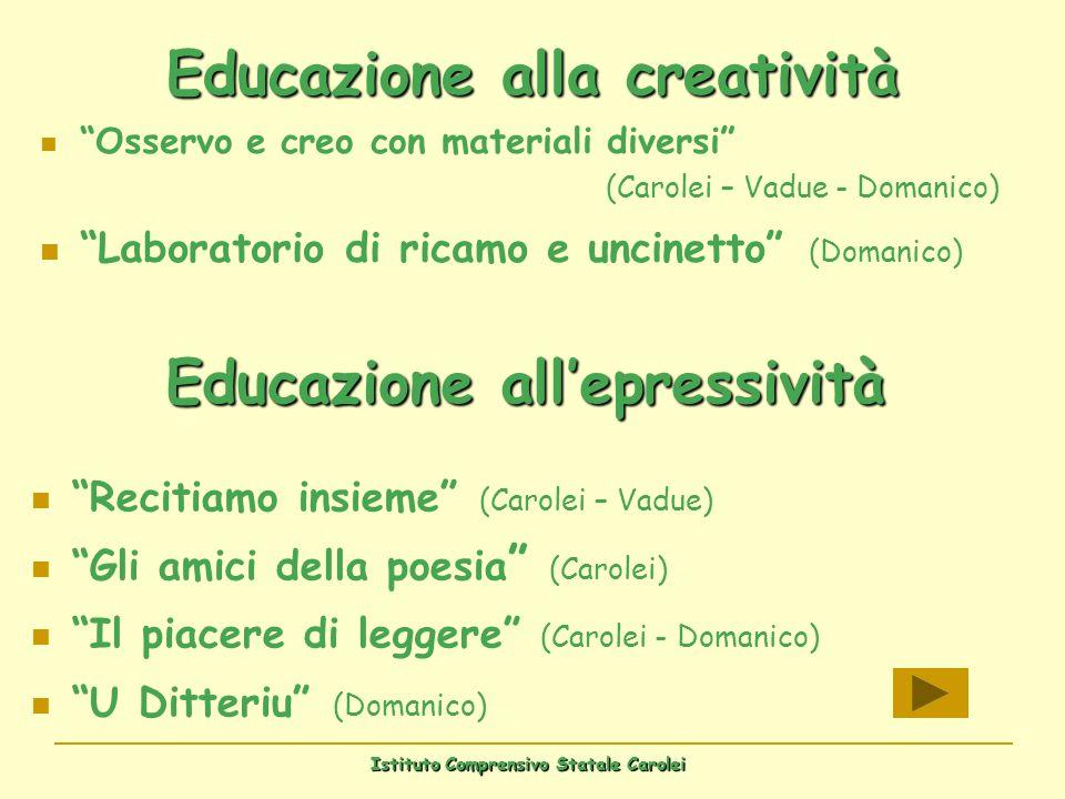 Istituto Comprensivo Statale Carolei Educazione alla creatività Osservo e creo con materiali diversi (Carolei – Vadue - Domanico) Laboratorio di ricam