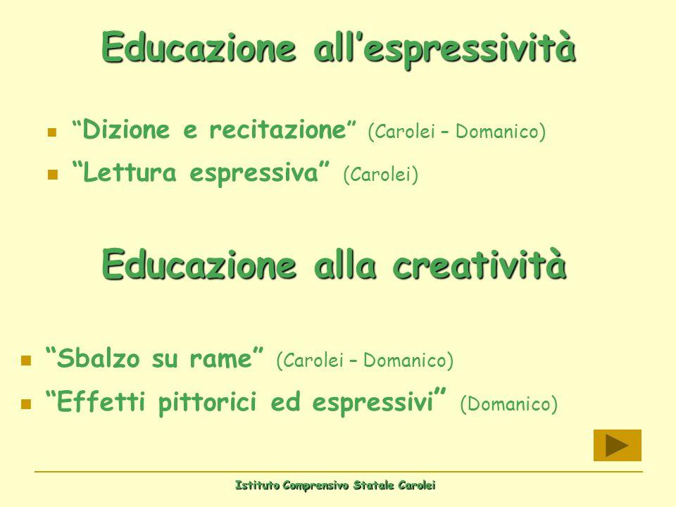 Istituto Comprensivo Statale Carolei Educazione allespressività Dizione e recitazione (Carolei – Domanico) Lettura espressiva (Carolei) Educazione all