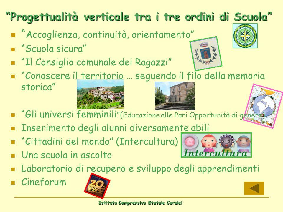 Istituto Comprensivo Statale Carolei Progettualità verticale tra i tre ordini di Scuola Accoglienza, continuità, orientamento Scuola sicura Il Consigl