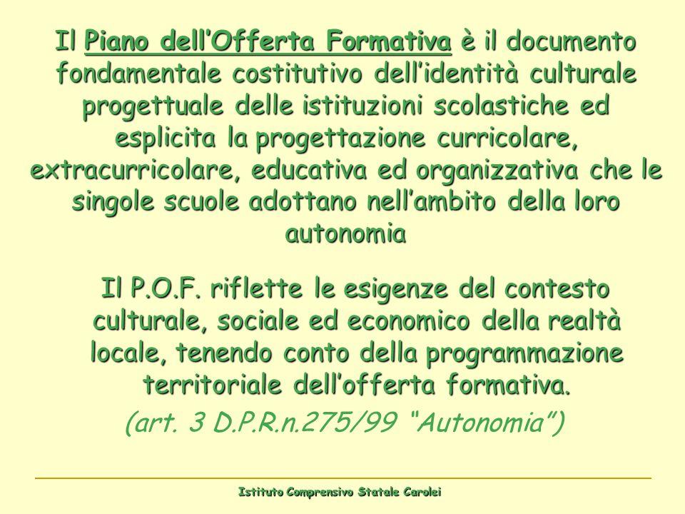 Il Piano dellOfferta Formativa è il documento fondamentale costitutivo dellidentità culturale progettuale delle istituzioni scolastiche ed esplicita l