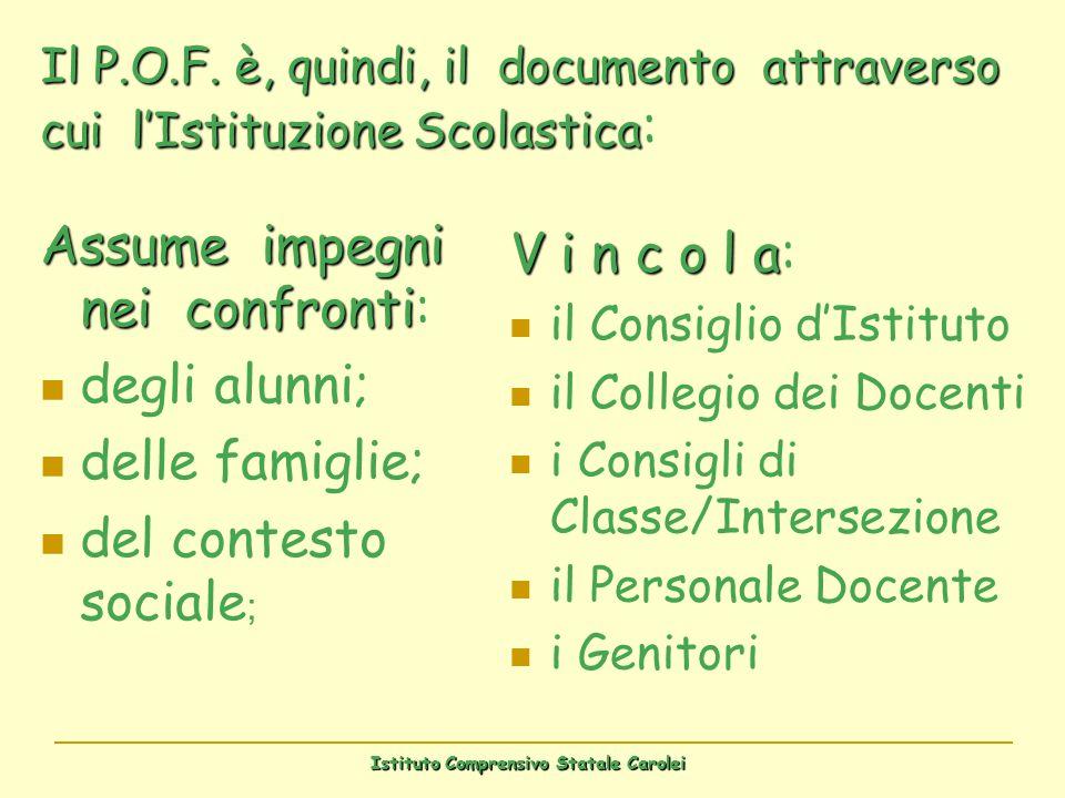 Istituto Comprensivo Statale Carolei Il P.O.F. è, quindi, il documento attraverso cui lIstituzione Scolastica Il P.O.F. è, quindi, il documento attrav