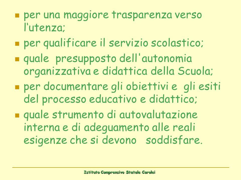 per una maggiore trasparenza verso lutenza; per qualificare il servizio scolastico; quale presupposto dell'autonomia organizzativa e didattica della S