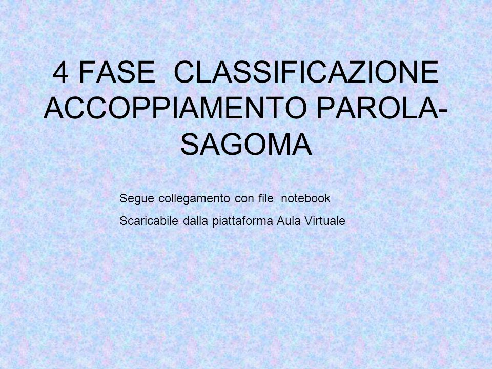 4 FASE CLASSIFICAZIONE ACCOPPIAMENTO PAROLA- SAGOMA Segue collegamento con file notebook Scaricabile dalla piattaforma Aula Virtuale